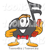 Vector Illustration of a Cartoon Music Note Mascot Holding a Telephone by Toons4Biz