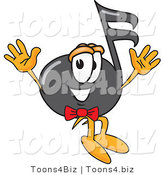 Vector Illustration of a Cartoon Music Note Mascot Jumping by Toons4Biz