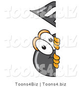 Vector Illustration of a Cartoon Music Note Mascot Peeking Around a Corner by Toons4Biz
