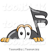 Vector Illustration of a Cartoon Music Note Mascot Peeking over a Surface by Toons4Biz