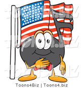 Vector Illustration of a Cartoon Music Note Mascot Pledging Allegiance to an American Flag by Toons4Biz