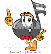 Vector Illustration of a Cartoon Music Note Mascot Pointing Upwards by Toons4Biz