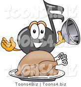 Vector Illustration of a Cartoon Music Note Mascot Serving a Thanksgiving Turkey on a Platter by Toons4Biz