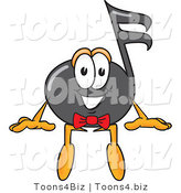Vector Illustration of a Cartoon Music Note Mascot Sitting by Toons4Biz