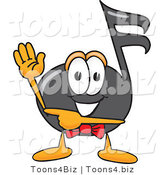 Vector Illustration of a Cartoon Music Note Mascot Waving and Pointing by Toons4Biz