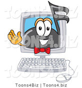 Vector Illustration of a Cartoon Music Note Mascot Waving from Inside a Computer Screen by Toons4Biz