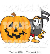Vector Illustration of a Cartoon Music Note Mascot with a Carved Halloween Pumpkin by Toons4Biz