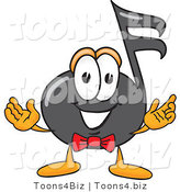 Vector Illustration of a Cartoon Music Note Mascot with Welcoming Open Arms by Toons4Biz
