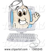 Vector Illustration of a Cartoon Navy Bean Mascot Waving from a Desktop Computer by Toons4Biz
