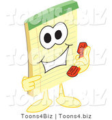 Vector Illustration of a Cartoon Notepad Mascot Using a Phone by Toons4Biz