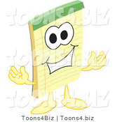 Vector Illustration of a Cartoon Notepad Mascot Welcoming by Toons4Biz