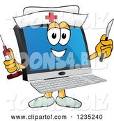 Vector Illustration of a Cartoon Nurse PC Computer Mascot Holding a Syringe and Scalpel by Toons4Biz