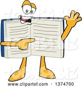 Vector Illustration of a Cartoon Open Blue Book Mascot Waving and Pointing at Text on a Page by Toons4Biz