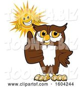 Vector Illustration of a Cartoon Owl School Mascot and Happy Sun Giving Thumbs up by Toons4Biz