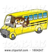 Vector Illustration of a Cartoon Owl School Mascot Driving a School Bus by Toons4Biz