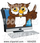 Vector Illustration of a Cartoon Owl School Mascot Emerging from a Computer by Toons4Biz