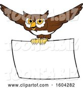 Vector Illustration of a Cartoon Owl School Mascot Flying with a Banner by Toons4Biz