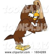 Vector Illustration of a Cartoon Owl School Mascot Holding a Baseball Bat by Toons4Biz