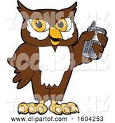 Vector Illustration of a Cartoon Owl School Mascot Holding a Cell Phone by Toons4Biz
