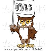 Vector Illustration of a Cartoon Owl School Mascot Holding a Flag by Toons4Biz