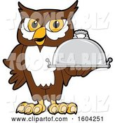Vector Illustration of a Cartoon Owl School Mascot Holding a Platter by Toons4Biz