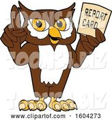 Vector Illustration of a Cartoon Owl School Mascot Holding a Report Card by Toons4Biz