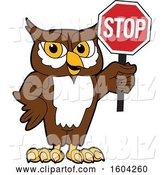 Vector Illustration of a Cartoon Owl School Mascot Holding a Stop Sign by Toons4Biz