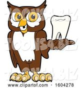 Vector Illustration of a Cartoon Owl School Mascot Holding a Tooth by Toons4Biz