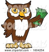 Vector Illustration of a Cartoon Owl School Mascot Holding Cash Money by Toons4Biz