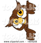 Vector Illustration of a Cartoon Owl School Mascot Looking Around a Sign by Toons4Biz