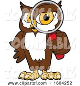 Vector Illustration of a Cartoon Owl School Mascot Looking Through a Magnifying Glass by Toons4Biz