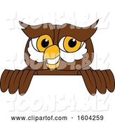Vector Illustration of a Cartoon Owl School Mascot over a Sign by Toons4Biz