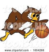 Vector Illustration of a Cartoon Owl School Mascot Playing Basketball by Toons4Biz