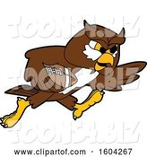 Vector Illustration of a Cartoon Owl School Mascot Playing Football by Toons4Biz