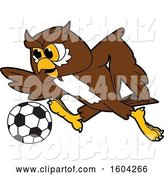 Vector Illustration of a Cartoon Owl School Mascot Playing Soccer by Toons4Biz