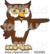 Vector Illustration of a Cartoon Owl School Mascot Pointing by Toons4Biz