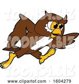 Vector Illustration of a Cartoon Owl School Mascot Running by Toons4Biz