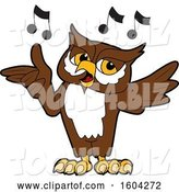 Vector Illustration of a Cartoon Owl School Mascot Singing by Toons4Biz