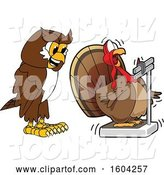 Vector Illustration of a Cartoon Owl School Mascot Watching a Turkey Bird Weigh Itself by Toons4Biz