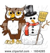 Vector Illustration of a Cartoon Owl School Mascot with a Christmas Snowman by Toons4Biz