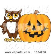 Vector Illustration of a Cartoon Owl School Mascot with a Halloween Pumpkin by Toons4Biz