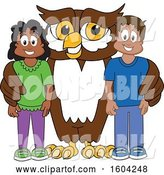 Vector Illustration of a Cartoon Owl School Mascot with Students by Toons4Biz