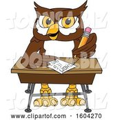 Vector Illustration of a Cartoon Owl School Mascot Writing at a Desk by Toons4Biz