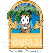 Vector Illustration of a Cartoon Palm Tree Mascot on a Blank Tan Label by Toons4Biz