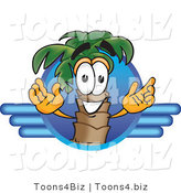 Vector Illustration of a Cartoon Palm Tree Mascot on a Blue Travel Business Logo by Toons4Biz