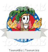 Vector Illustration of a Cartoon Palm Tree Mascot on an American Business Logo by Toons4Biz
