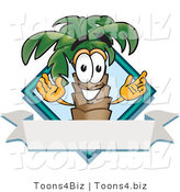 Vector Illustration of a Cartoon Palm Tree Mascot over a Blank Banner on a Travel Business Label Logo by Toons4Biz