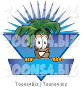 Vector Illustration of a Cartoon Palm Tree Mascot over a Blank Blue Business Label with a Burst by Toons4Biz