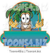 Vector Illustration of a Cartoon Palm Tree Mascot over a Blank Business Label by Toons4Biz