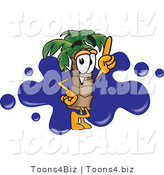 Vector Illustration of a Cartoon Palm Tree Mascot Pointing Upwards and Standing in Front of a Blue Paint Splatter on a Travel Business Logo by Toons4Biz